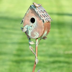 "Country Style Iron Birdhouse Stake ""Farm House"""