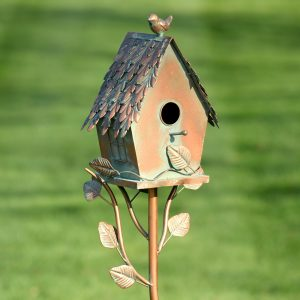 "Country Style Iron Birdhouse Stake ""Cottage House"""