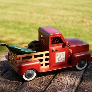 Small Antique Red Truck with Christmas Tree - Matte