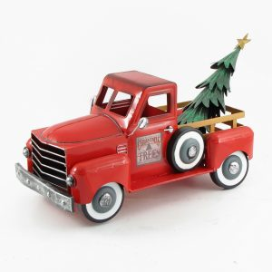Small Red Truck with Christmas Tree