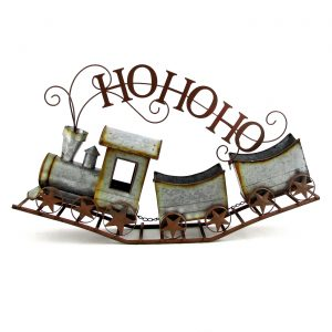 "Galvanized Christmas Train ""HO HO HO"""