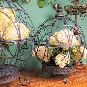 Set of 2 Iron Globe Plant Stands
