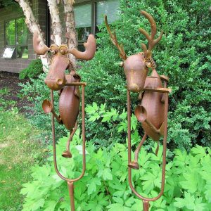 Set of 2 Rocking Moose and Deer Garden Stakes