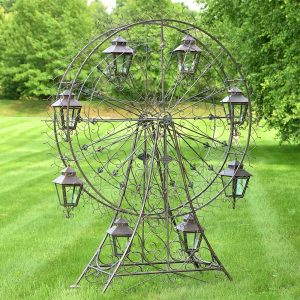 "Large Iron Ferris Wheel ""Atlantic"" with 8 Hanging Lanterns"