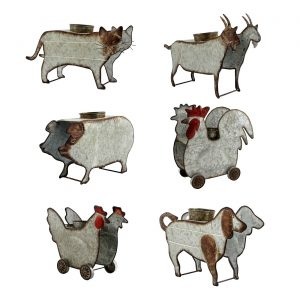 Set of 6 Assorted Style Galvanized Farm Animal Planters
