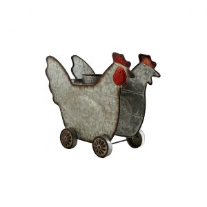 Galvanized Farm Animal Planter - Chicken