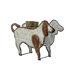 Galvanized Farm Animal Planter - Dog