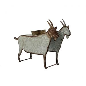 Galvanized Farm Animal Planter - Goat