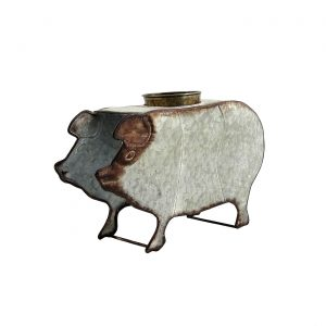 Galvanized Farm Animal Planter - Pig
