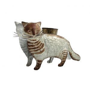 Galvanized Animal Planter - Cat