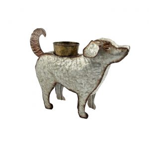 Galvanized Animal Planter - Dog