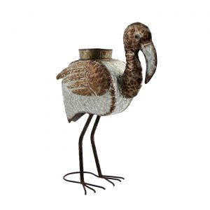Galvanized Animal Planter - Flamingo