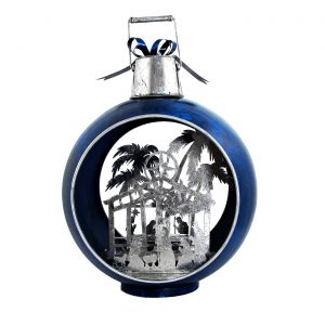 Large Iron Christmas Ornament with Nativity Scene & LED Lights