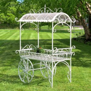 Large Iron Flower Cart with Roof in Antique Bronze