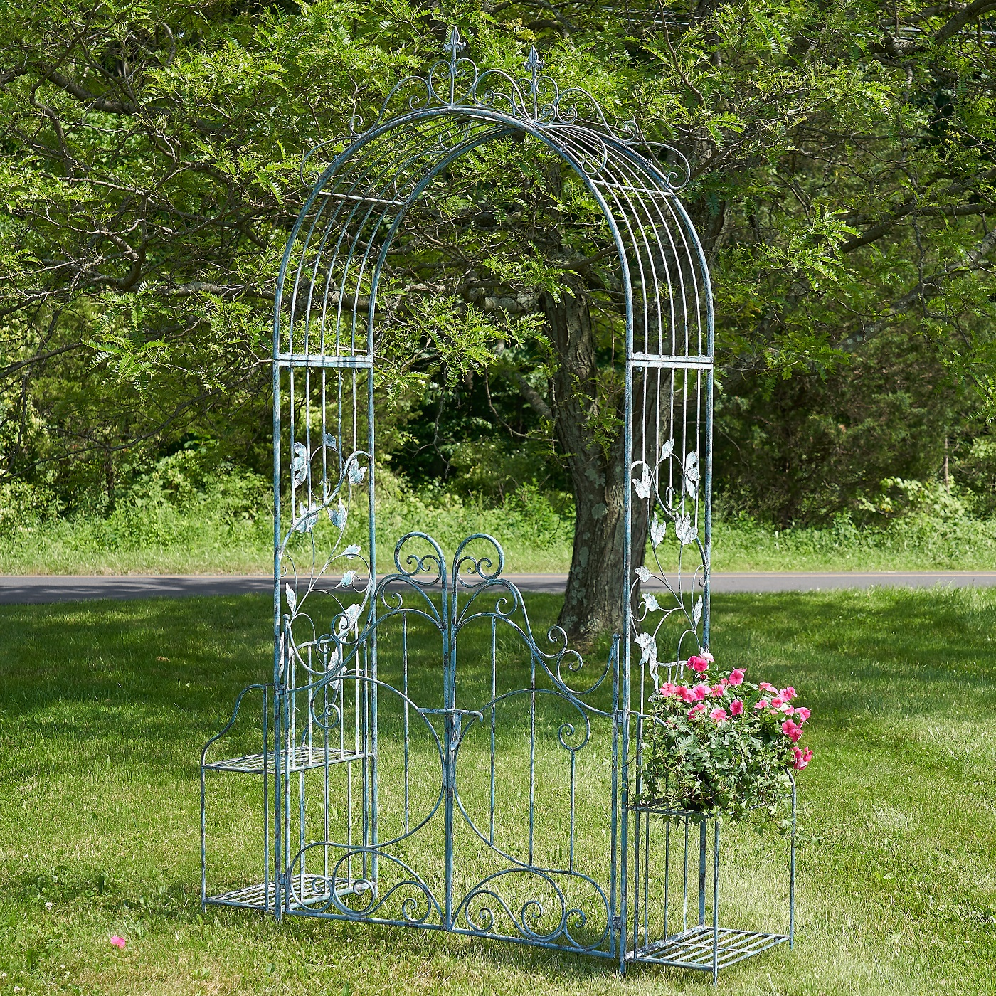 """Iron Garden Gate with Side Plant Stands """"Stephania"""" in Light Blue"""