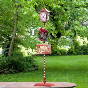 Standing Iron Christmas Lantern with Wreath & LED Lights