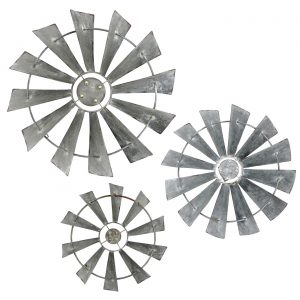 Set of 3 Rotating Galvanized Windmill Wall Décor