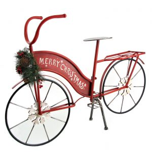"Small Iron ""Merry Christmas"" Bicycle with Wreath and LED Lights"