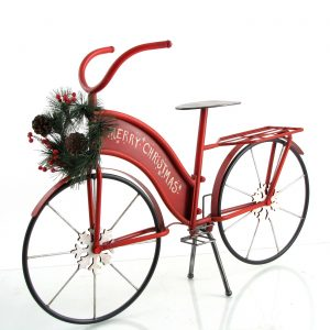 "Large Iron ""Merry Christmas"" Bicycle with Wreath and LED Lights"