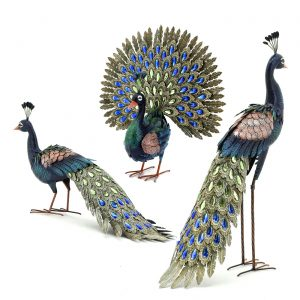 Set of 3 Elegant Iron Peacocks with Acrylic Jewel Detail