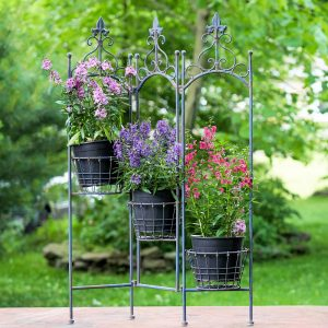 "Metal Folding Plant Stand With Baskets ""Stephania"""