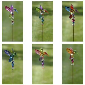 Set of 6 Five Tone Acrylic Hummingbird Pot Stakes in 6 Assorted Colors