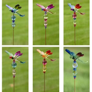 Set of 6 Five Tone Acrylic Dragonfly Pot Stakes in 6 Assorted Color Variations