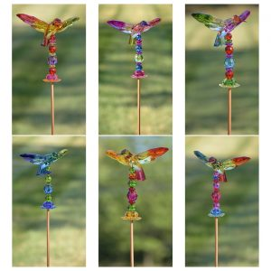 "54"" Five Tone Acrylic Hummingbird Garden Stakes in 6 Assorted Colors"