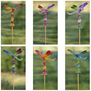 "54"" Five Tone Acrylic Dragonfly Garden Stakes in 6 Assorted Colors"