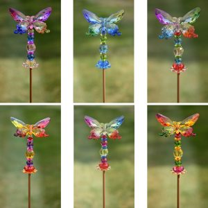 "54"" Five Tone Acrylic Butterfly Garden Stakes in 6 Assorted Colors"