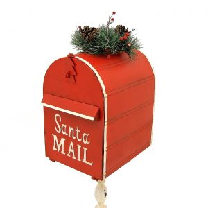 "Standing ""Santa's Mail"" Christmas Mailbox with Light-up Wreath"
