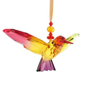 Five Tone Acrylic Hanging Hummingbird Ornament with Box