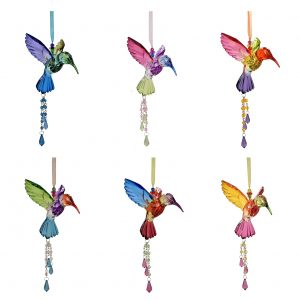 Set of 6 Five Tone Hanging Acrylic Hummingbird Ornament