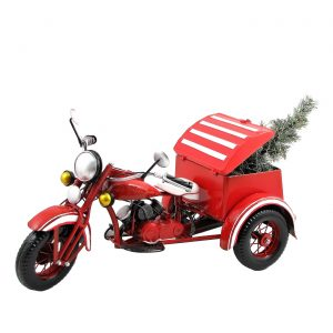 Small Red Motor Trike with Christmas Tree & LED Lights