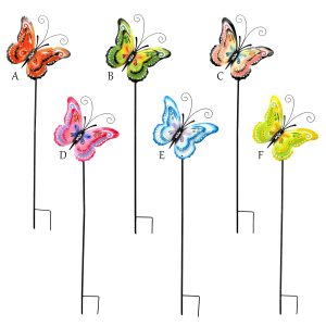 Six Assorted Color Iron Butterfly Garden Stakes