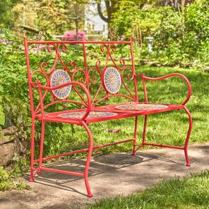 """Paris"" Iron Folding Bench with Ceramic Mosaic Top"