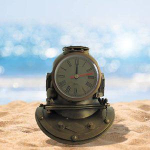 Metal Diver's Helmet Tabletop Clock