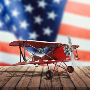 Decorative Red, White, and Blue Model Airplane