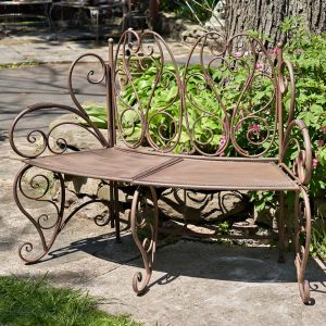 """Galina Folding Curved Garden Bench in Antique Rust"