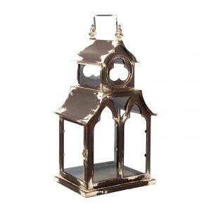 """20.45"""" T. Old Style Garden Lantern in Antique Brown & Cream"""