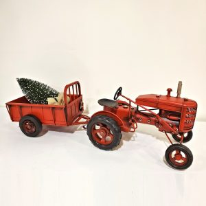 Red Iron Tractor with Wagon Trailer