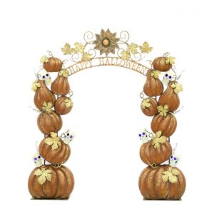 "Large ""Happy Halloween"" Arch with Pumpkins and Skulls"