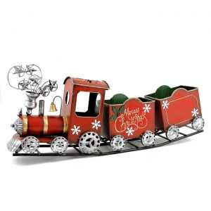 Antique Red Iron Christmas Train with Snowflakes
