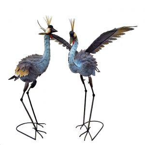 Set of 2 Iron Grey Cranes