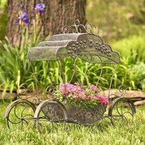 "Victorian Iron Cinderella Carriage Flower Stand in Bronze ""Luciana"""