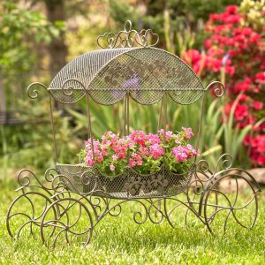 "Victorian Iron Cinderella Carriage Flower Stand in Bronze ""Stephania"""