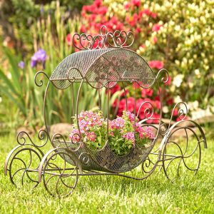 "Victorian Iron Cinderella Carriage Flower Stand in Bronze ""Rebecca"""