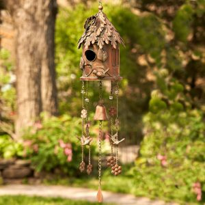 "Antique Copper Hanging Birdhouse Wind Chime ""Silo"""