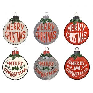 "Set of 6 Large Galvanized ""Merry Christmas"" Ornament Wall Signs"