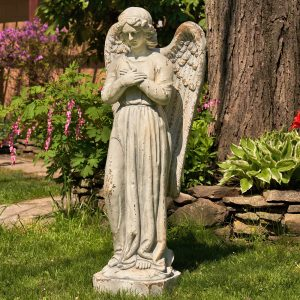 "47"" Tall Standing Magnesium Angel Holding Heart ""Evangeline"""